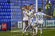 GOAL 2-0! Tranmere Rovers striker James Vaughan scores and celebrates during the EFL Sky Bet League 2 match between Tranmere Rovers and Forest Green Rovers at Prenton Park, Birkenhead, England on 19 January 2021.
