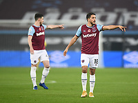 Football - 2020 /2021Premier League - West Ham United vs Fulham - The London Stadium<br /> <br /> West Ham United's Pablo Fornals with Declan Rice.<br /> <br /> COLORSPORT/ASHLEY WESTERN
