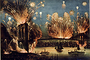 Firework display celebrating  the opening of the Brooklyn Suspension, New York, USA, 24 May 1883. Currier and Ives print, 1883. America