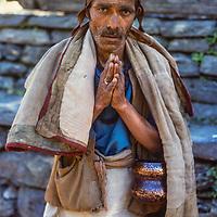 Pilgrim on 150-mile pilgrimage to Muktinath to worship Vishnu.