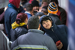 © Licensed to London News Pictures . 27/11/2015 . Salford , UK . People in the queue for Black Friday reductions , at a branch of Tesco in Pendleton , Salford , this morning (Friday 27th November) . Last year (2014) scuffles and fights were reported amongst queuing bargain-hunters . Photo credit: Joel Goodman/LNP