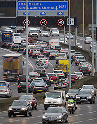 © Licensed to London News Pictures. 23/12/2016. London, UK.  Standstill traffic on the M25 heading northbound near junction 4 with the M4 as the Christmas getaway begins, with stations, airports and roads expected to be very busy as people start their Christmas holidays. Photo credit: Ben Cawthra/LNP