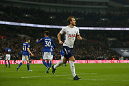 Harry Kane of Tottenham celebrates after he scores his teams 2nd goal as Tottenham Hotspur go 2-0 up against Everton . <br /> Premier league match, Tottenham Hotspur v Everton at Wembley Stadium in London on Saturday 13th January 2018.<br /> pic by Kieran Clarke, Andrew Orchard sports photography.
