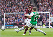 The William Hill Scottish FA Cup Final 2012 Hibernian Football Club v Heart Of Midlothian Football Club..19-05-12...Hearts Ryan McGowan tries to get past hibs Lewis Stevenson        during the William Hill Scottish FA Cup Final 2012 between (SPL) Scottish Premier League clubs Hibernian FC and Heart Of Midlothian FC. It's the first all Edinburgh Final since 1986 which Hearts won 3-1. Hearts bid to win the trophy since their last victory in 2006, and Hibs aim to win the Scottish Cup for the first time since 1902....At The Scottish National Stadium, Hampden Park, Glasgow...Picture Mark Davison/ ProLens PhotoAgency/ PLPA.Saturday 19th May 2012.