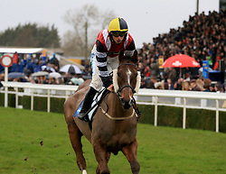 Potters Corner ridden by James Bowen during the Marstons 61 Deep Midlands Grand National race at Uttoxeter Racecourse.