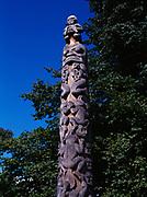 Pacific Northwest Coast totem poles, Stanley Park, Vancouver, British Columbia, Canada.