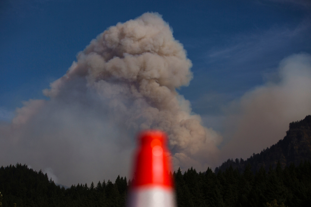 Sept. 13, 2017 | Views of the Eagle Creek Fire in the Columbia River Gorge from Cascade, Locks Oregon