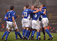 Photo: Daniel Hambury.<br /> The Coca Cola Championship.<br /> Ipswich Town V Wigan Athletic.   21/12/2004<br /> Ipswich's plaers celebrate their first goal