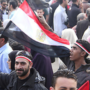 Young men show their enthusiasm for the revolution as they carry Egyptian flags through the crowd in Cairo's Tahrir Square.