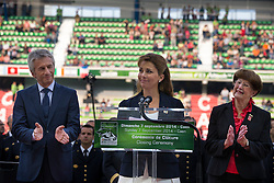 HRH Princess Haya bint Al Hussein and Laurent Beauvais, président du conseil régional - Show Jumping Final Four - Alltech FEI World Equestrian Games™ 2014 - Normandy, France.<br /> © Hippo Foto Team - Leanjo de Koster<br /> 07-09-14
