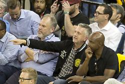 May 31, 2018 - Oakland, CALIFORNIA, UNITED STATES OF AMERICA - Barry Bonds watch Game 1 of the 2018 NBA Finals at ORACLE Arena on May 31, 2018 in Oakland, California..Armando Arorizo. (Credit Image: © Armando Arorizo/Prensa Internacional via ZUMA Wire)