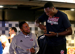 Daniel Edozie and Panos Mayindombe of Bristol Flyers take part in the 2017/18 season launch event at Ashton Gate - Mandatory by-line: Robbie Stephenson/JMP - 11/09/2017 - BASKETBALL - Ashton Gate - Bristol, England - Bristol Flyers 2017/18 Season Launch