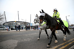 A general view of the ground and mounted police before the UEFA Champions League, Quarter Final at the Etihad Stadium, Manchester.