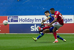 Niclas Eliasson of Bristol City (R) crosses - Mandatory by-line: Jack Phillips/JMP - 11/01/2020 - FOOTBALL - DW Stadium - Wigan, England - Wigan Athletic v Bristol City - English Football League Championship