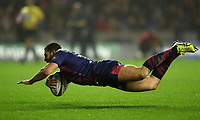 Geoffrey Doumayrou of Stade Francais  scores a try in the Challenge Cup Final at Murrayfield Stadium, Edinburgh. Picture date: May 12th, 2017. Photo credit should read: Sportimage