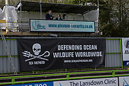 Scoreboard advertising during the Vanarama National League match between Forest Green Rovers and Chester FC at the New Lawn, Forest Green, United Kingdom on 14 April 2017. Photo by Shane Healey.
