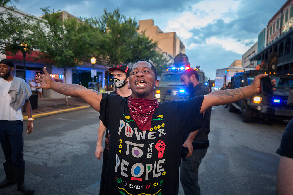 SAVANNAH, GA - MAY 31, 2020: Protesters hold signs and chant <br /> <br />  rally joining a national outrage over the death of George Floyd, Saturday, May 31, 2020 in Savannah, Ga., Floyd died in police custody on Memorial Day in Minneapolis. (AJC Photo/Stephen B. Morton)