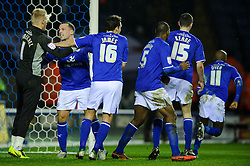 Leicester players congratulate Goalkeeper Kasper Schmeichel (DEN) after he saves a penalty during the second half of the match - Photo mandatory by-line: Rogan Thomson/JMP - Tel: Mobile: 07966 386802 18/01/2013 - SPORT - FOOTBALL - King Power Stadium - Leicester. Leicester City v Middlesbrough - npower Championship.