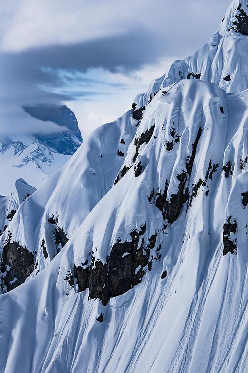 Nicolas Falquet skiing a impressive steep line at Les Marecottes Switzerland