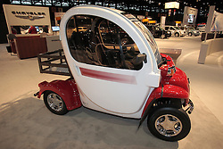 11 February 2009: 2009 GEM e2, manufactured by GEM and powered by a 72 volt Shunt GE motor.  This vehicle is part of the green movement to find alternative fuels for vehicles and it runs solely on electricity provided by batteries. This unit is designed to carry 2 people and cargo. The Chicago Auto Show is a charity event of the Chicago Automobile Trade Association (CATA) and is held annually at McCormick Place in Chicago Illinois.