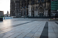 curfew from 9 pm during corona pandemic lockdown on May 5th. 2021. The deserted square around Cologne Cathedral, Cologne, Germany.<br /> <br /> Ausgangssperre ab 21 Uhr waehrend des Corona Lockdowns am 5. Mai 2021. Die menschenleere Domplatte, Koeln, Deutschland.
