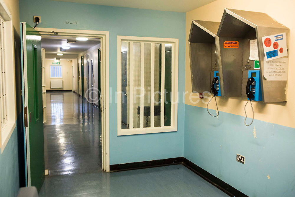 The wing telephone booths. Beaufort House, a skill development unit for enhanced prisoners. Part of HMP/YOI Portland, a resettlement prison with a capacity for 530 prisoners.Dorset, United Kingdom.