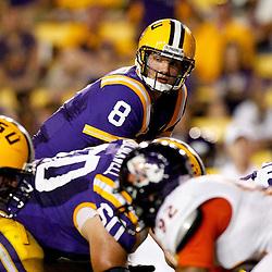 September 10, 2011; Baton Rouge, LA, USA;  LSU Tigers quarterback Zach Mettenberger (8) against the LSU Tigers during the second half at Tiger Stadium. LSU defeat Northwestern State 49-3. Mandatory Credit: Derick E. Hingle