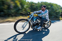 Nils Aumann of Bremen, GERMANY out for a ride on his Bill Dodge built race inspired Panhead during Daytona Bike Week. FL, USA. March 14, 2014.  Photography ©2014 Michael Lichter.