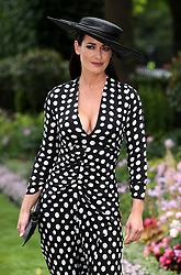Kirsty Gallacher poses for photographers on day two of Royal Ascot at Ascot Racecourse.