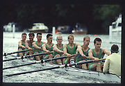 """Henley on Thames. United Kingdom. Nottingham County Rowing Association [NCRA]. beat Harvard University in the final of """" Ladies Plate Challenge Trophy"""", at the 1990 Henley Royal Regatta, Henley Reach, River Thames. 06/07.1989  Crew. NCRA: Chris BATES (bow), Peter HAINING, Tom KAY, Justin HOOKER, Marish CHMEIL, Carl SMITH, Neil STAITE, Toby HESSIAN (str), John DEAKIN.<br /> <br /> [Mandatory Credit; Peter SPURRIER/Intersport Images] 1989 Henley Royal Regatta. Henley. UK"""