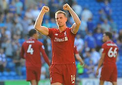 Jordan Henderson of Liverpool celebrates after the final whistle- Mandatory by-line: Nizaam Jones/JMP - 21/04/2019 -  FOOTBALL - Cardiff City Stadium - Cardiff, Wales -  Cardiff City v Liverpool - Premier League