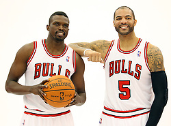 11.12.2011, The Berto Center, Deerfield, USA, NBA, Chicago Bulls Medien Tag, im Bild CARLOS BOOZER Z PRAWEJ I LUOL DENG Z LEWEJ CHICAGO BULLS // during Chicago Bulls Media Day at the Berto Center, Deerfield, United Staates on 2011/12/11, POLAND OUT!!!. EXPA Pictures © 2011, PhotoCredit: EXPA/ Newspix/ Kamil Krzaczynski..***** ATTENTION - for AUT, SLO, CRO, SRB, SUI and SWE only *****