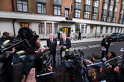 © London News Pictures. File picture dated 07/12/2012. John Lofthouse (centre) Chief Executive of the King Edward VII Hospital in London speaking to media outside King Edward VII Hospital  on December 07, 2012 following the suicide of nurse Jacintha Saldanha. Reports have today suggested that Jacintha Saldanha was critical of staff at the hospital in her suicide note.  Photo credit: Ben Cawthra/LNP