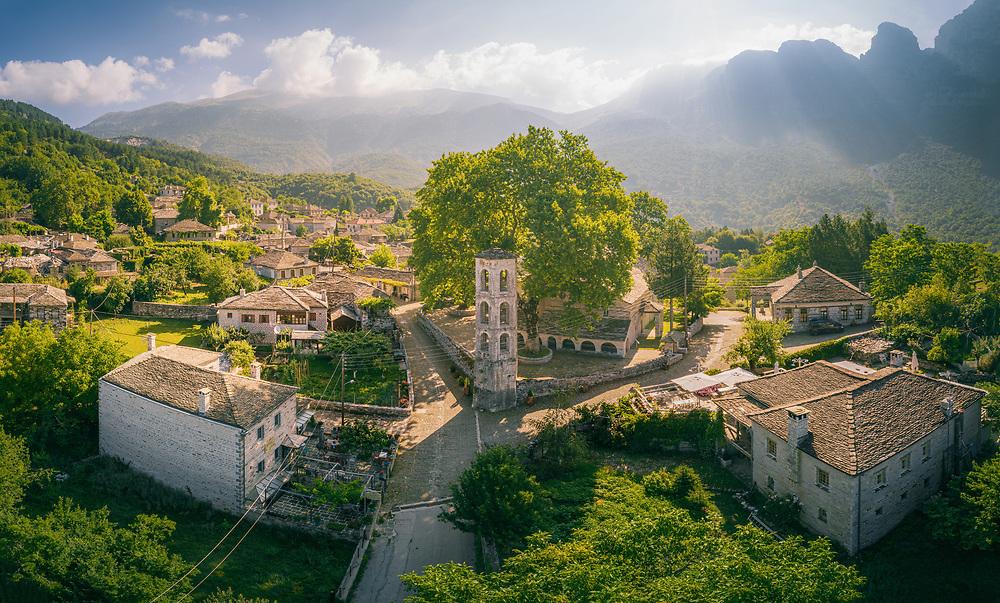 Village of Papingo and Mount Tymfi in Zagori (or Zagorochoria or Zagorohoria)  at Pindus Mountains, Greece