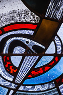 Stained glass depicting the serpent (Genesis 3) at Zion Lutheran Church, Belleville, Ill., on Wednesday, Feb. 10, 2021. LCMS Communications/Erik M. Lunsford