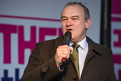 London, UK. 19 October, 2019. Sir Ed Davey, Deputy Leader of the Liberal Democrats, addresses hundreds of thousands of pro-EU citizens at a Together for the Final Say People's Vote rally in Parliament Square as MPs meet in a 'super Saturday' Commons session, the first such sitting since the Falklands conflict, to vote, subject to the Sir Oliver Letwin amendment, on the Brexit deal negotiated by Prime Minister Boris Johnson with the European Union.