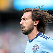 NEW YORK, NEW YORK - March 12:  Andrea Pirlo #21 of New York City FC during the NYCFC Vs D.C. United regular season MLS game at Yankee Stadium on March 12, 2017 in New York City. (Photo by Tim Clayton/Corbis via Getty Images)
