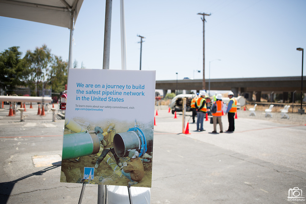 Pacific Gas and Electric Company (PG&E) held a media presentation at the Milpitas Gas Terminal on July 9, 2012 to demonstrate their new in-line inspection tools to survey local underground gas pipelines and promote higher standards of safety.  Photo by Stan Olszewski/SOSKIphoto.