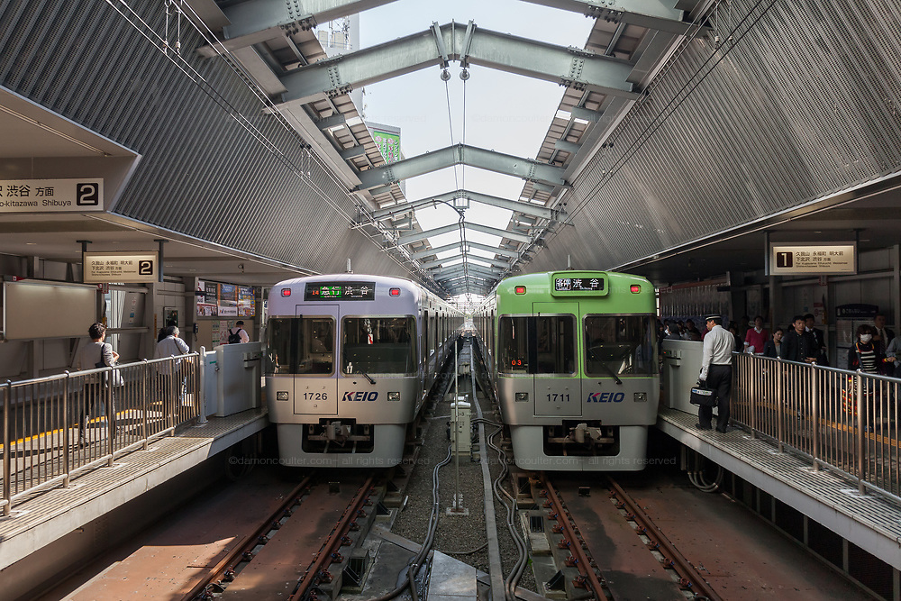 Two Keio Line trains at Kichijoji Station in Tokyo, Japan. Wednesday October 30th 2019