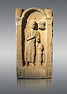 Second century AD Roman funerary Stele dedicated to Caipenniae Victoriae from  Africa Proconsularis , present day Tunisia. The Bardo National Museum, Tunis, Tunisia .   Against a grey background. .<br /> <br /> If you prefer to buy from our ALAMY STOCK LIBRARY page at https://www.alamy.com/portfolio/paul-williams-funkystock/greco-roman-sculptures.html . Type -    BARDO    - into LOWER SEARCH WITHIN GALLERY box - Refine search by adding a subject, place, background colour, museum etc.<br /> <br /> Visit our CLASSICAL WORLD HISTORIC SITES PHOTO COLLECTIONS for more photos to download or buy as wall art prints https://funkystock.photoshelter.com/gallery-collection/The-Romans-Art-Artefacts-Antiquities-Historic-Sites-Pictures-Images/C0000r2uLJJo9_s0c