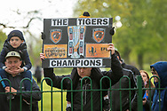 Hull City fans gather outside the KCOM stadium to celebrate winning the league 1 title during the EFL Sky Bet League 1 match between Hull City and Wigan Athletic at the KCOM Stadium, Kingston upon Hull, England on 1 May 2021.
