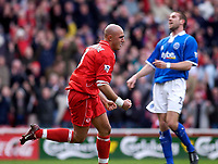 Photo. Glyn Thomas.<br /> Middlesbrough v Birmingham City.<br /> FA Barclaycard Premiership.<br /> Riverside Stadium, Middlesbrough. 20/03/2004.<br /> Boro's Massimo Maccarone (L) celebrates the first of his two goals as Matthew Upson is distraught.