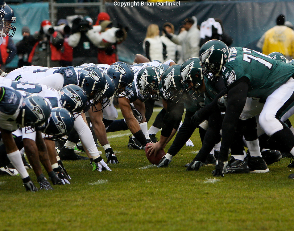 PHILADELPHIA - DECEMBER 2: Philadelphia Eagles Offense lines up with  the Seahawks defense  during the game against the Seattle Seahawks at Lincoln Financial Field December 2, 2007 in Philadelphia, Pennsylvania. The Seahawks won 28-24.