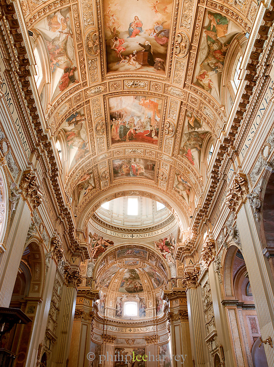 Inside Sant' Andrea Della Valle, Rome, Italy.