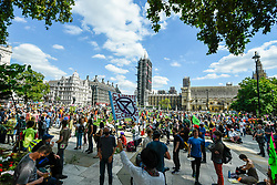 © Licensed to London News Pictures. 01/09/2020. LONDON, UK.  Activists from Extinction Rebellion take part in a climate change protest in Parliament Square on the day that Members of Parliament return to Westminster after the summer recess.  Photo credit: Stephen Chung/LNP