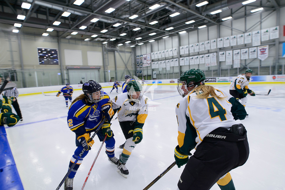 Action during the Women's Hockey Home Game on October 14 at Co-operators arena. Credit: Arthur Ward/Arthur Images
