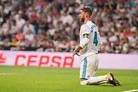 Real Madrid's Sergio Ramos during La Liga match between Real Madrid and Real Betis at Santiago Bernabeu Stadium in Madrid, Spain September 20, 2017. (ALTERPHOTOS/Borja B.Hojas)
