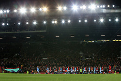 10 December 2017 -  Premier League - Manchester United v Manchester City - The players walk out for the Derby at Old Trafford - Photo: Marc Atkins/Offside