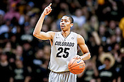 SHOT 2/14/13 9:52:28 PM - Colorado's Spencer Dinwiddie #25 dials up a play against Arizona during their regular season Pac-12 basketball game at the Coors Event Center on the Colorado campus in Boulder, Co. Colorado won the game 71-58. (Photo by Marc Piscotty / © 2013)