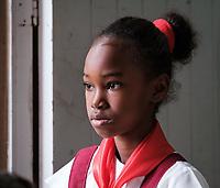 SANTIAGO DE CUBA, CUBA - CIRCA JANUARY 2020: Portrait of girl in a school of Cayo Granma, and island close to  Santiago de Cuba